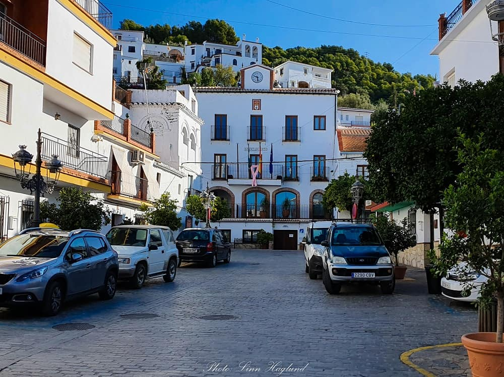 The trail to La Maroma starts to the left behind the Town Hall in Canillas de Aceituno