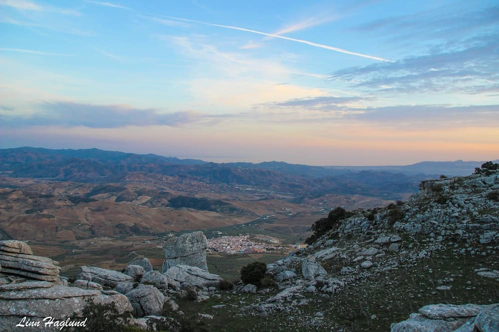 Sunset at the plateau by the viewpoint in El Torcal