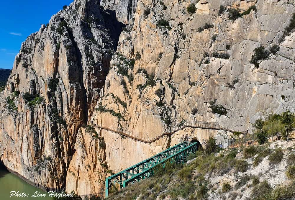 The end of Caminito del Rey boardwalk coming out from the gorge