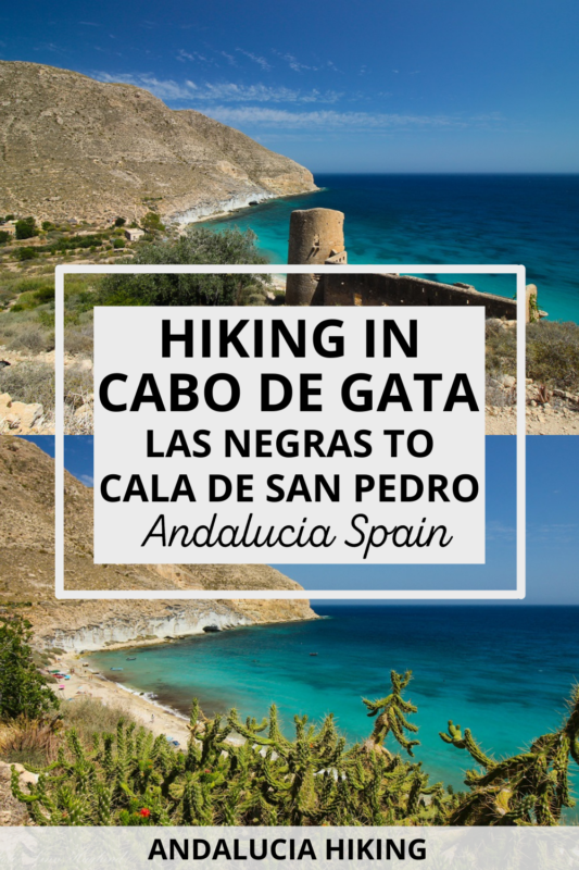 Are you looking for a unique hike in southern Spain? Hiking from Las Negras to Cala de San Pedro in Cabo de Gata-Nijar Natural Park is an easy hike featuring mesmerizing views and it takes you to a remote bay inhabited by a hippie community where you can camp on the beach with other backpackers and free spirits. This hiking guide goes through everything you need to know to have a successful hike to Cala de San Pedro Almeria